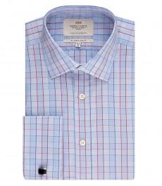 Мужская приталенная рубашка, голубая в красную клетку - манжеты под запонку