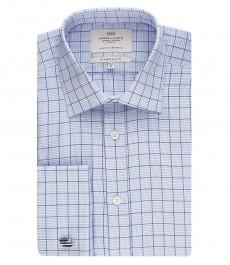 Мужская приталенная рубашка, голубая в белую клетку - манжеты под запонку