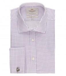 Мужская приталенная рубашка, белая в сиреневую мелкую клетку - манжеты под запонку