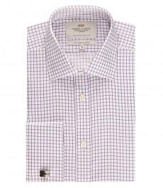 Мужская приталенная рубашка, фиолетовая в белую клетку - полусрезанный воротник - манжеты под запонку - легко гладится