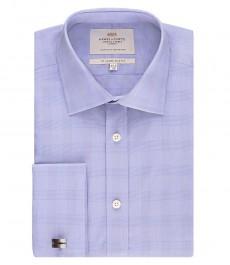 Мужская приталенная рубашка, голубая в клетку - манжеты под запонки - легко гладится
