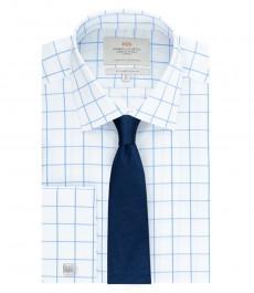 Мужская приталенная рубашка, белая в голубую крупную клетку - манжеты под запонку - легко гладится