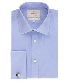 Мужская приталенная рубашка OXFORD, голубая - полусрезанный воротник - манжеты под запонки - легко гладится