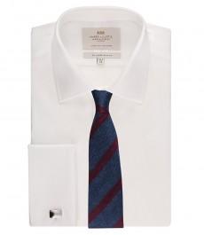 Приталенная мужская рубашка St James, белая, ткань поплин, двойная манжета