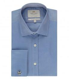Мужская рубашка, однотонная голубая, приталенная - манжеты на запонках