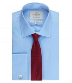Мужская приталенная рубашка, светло-голубая, ткань ёлочка - манжеты под запонку - легко гладится