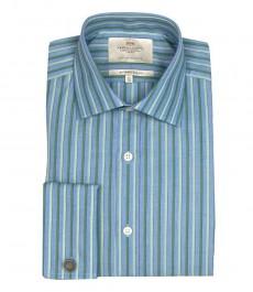 Приталенная мужская рубашка St James, голубая с зелёным чередующаяся полоска, двойная манжета