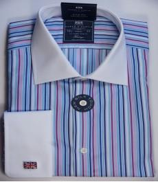 Приталенная мужская рубашка St James, голубая с розовым разноцветная полоска, двойная манжета
