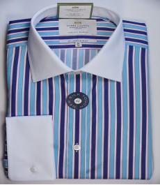 Приталенная мужская рубашка St James, голубая с тёмно-голубым разноцветная полоска, белый воротник, двойная манжета