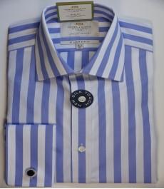 Приталенная мужская рубашка St James, двухветная сиренево-белая полоска, двойная манжета