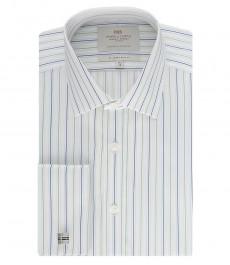 Мужская белая в зеленую полоску рубашка, приталенная - манжеты под запонку
