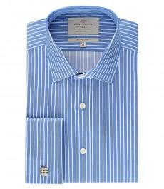 Мужская голубая рубашка в белую полоску, приталенная - манжеты под запонку