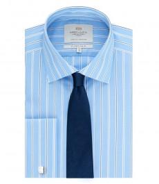 Мужская приталенная рубашка, голубая в темно-синюю полоску - манжеты под запонку - легко гладится