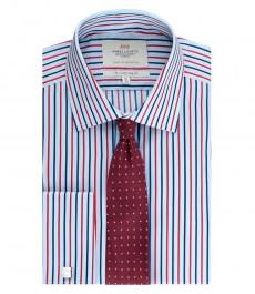Мужская приталенная рубашка, голубая в красную полоску - манжеты под запонку - легко гладится