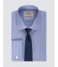 Мужская офисная приталенная рубашка, рукав под запонку