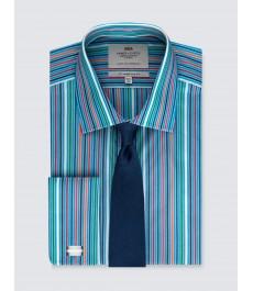 Мужская офисная приталенная рубашка St James, рукав под запонку