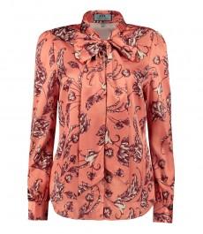 Женская полуприталенная коралловая рубашка с цветами - шейный шарф