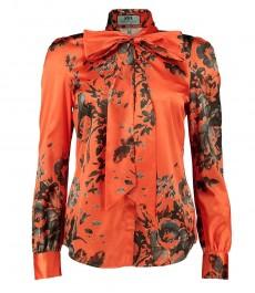 Женская оранжево-серая полуприталенная рубашка с цветочным дизайном, воротник в виде галстука