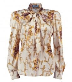 Женская полуприталенная блузка, кремовая с золотым, принт цепь - шейный шарф