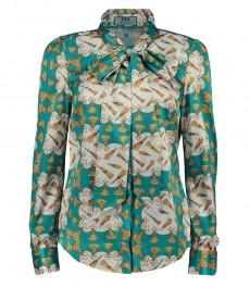 Женская полуприталенная рубашка, зеленая, принт, шейный шарф