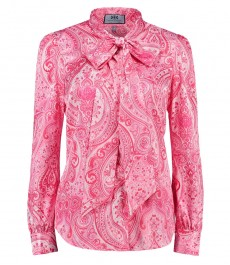 Женская рубашка, полуприталенная, розовая с кремовым этническим пейсли - шейный шарф