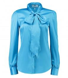 Женская полуприталенная рубашка, красивого голубого цвета с завязывающимся воротником