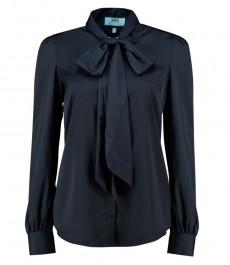 Женская полуприталенная рубашка, темно-синяя, матовая, сатин - воротник-шарф