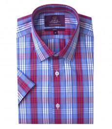 Мужская приталенная рубашка в красную и голубую среднюю клетку, короткий рукав.