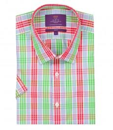 Мужская приталенная рубашка, разноцветная клетка, короткий рукав, 100% хлопок