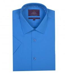 Мужская приталенная модная обычная рубашка морского цвета с коротким рукавом
