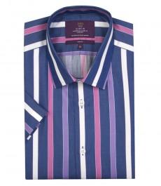 Мужская темно-синяя рубашка в широкую белую и светло-розовую полоску, короткий рукав, приталенная, 100 % хлопок