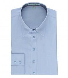 Женская полуприталенная рубашка голубого цвета, ткань добби - контрастные детали