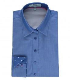 Женская полуприталенная рубашка королевского голубого цвета, ткань добби - контрастные детали