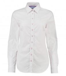 Женская полуприталенная белая рубашка в розовую точку, ткань добби - с контрастными деталями