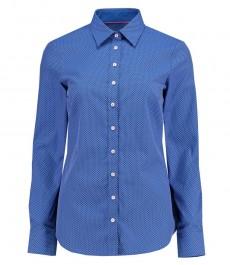 Женская полуприталенная рубашка, ярко-голубая и белая крапинка - манжеты на пуговицах