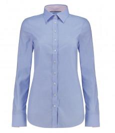 Женская полуприталенная рубашка, голубая, узор DOBBY - манжеты на пуговицах
