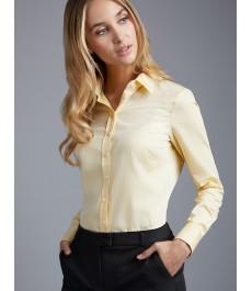 Женская полуприталенная рубашка, жёлтая узор добби - Манжеты на пуговицах