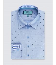 Женская полуприталенная рубашка, голубая в крапинку - манжеты на пуговицах
