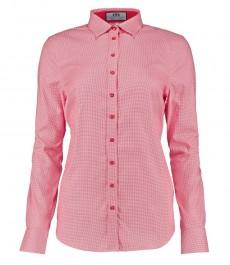 Женская полуприталенная рубашка в красную и белую, мелкую ломаную клетку - одинарная манжета