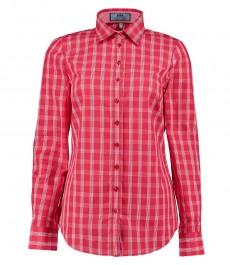 Женская полуприталенная блузка, красная в белую крупную клетку - одинарные манжеты