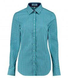 Женская полуприталенная рубашка в зеленую с белым среднюю клетку - одинарные манжеты