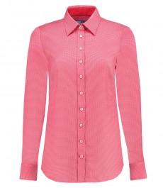 Женская полуприталенная рубашка, розово-персиковая клетка - манжеты на пуговицах