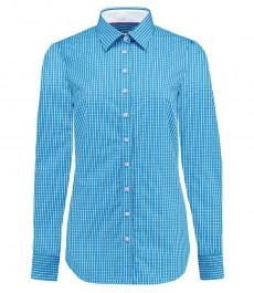 Женская полуприталенная рубашка, голубая в белую клетку - манжеты на пуговицах