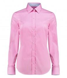 Женская полуприталенная рубашка, розовая в мелкую клетку - манжеты на пуговицах