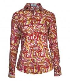 Женская полуприталенная рубашка в красный и желтый цветочный пейсли