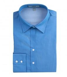 Женская полуприталенная рубашка голубого цвета в мелкий горох