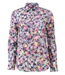 Женская полуприталенная рубашка, фиолетовый цветочный принт - манжеты на пуговицах