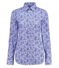 Женская полуприталенная рубашка, голубая, цветочный принт - манжеты на пуговицах