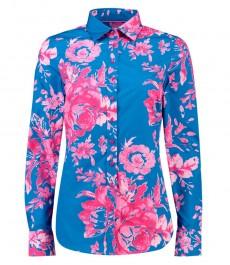 Женсякая полуприталенная рубашка, голубая, принт цветы фуксия - манжеты на пуговицах