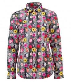 Женская полуприталенная рубашка, розовая в жёлтый цветочный принт - Манжеты на пуговицах